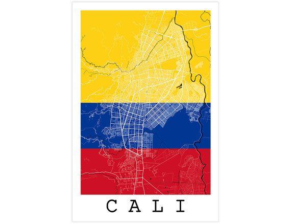 Cali Street Map Cali Colombia Modern Art Print with by JurqStudio