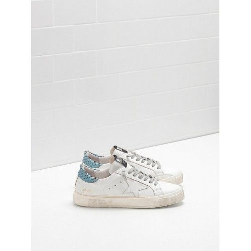 Golden Goose May Femme - Pas Cher GGDB Golden Goose May Low Femme Sneakers Blanc Bleu