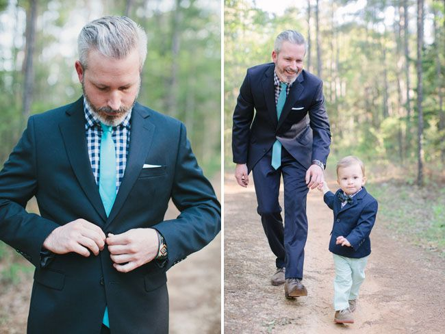 Love the groom with the bright colored tie and patterned shirt. Perfect for their bohemian-style outdoor wedding
