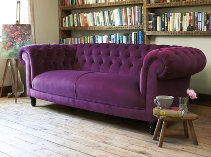 purple tufted couch - love it!