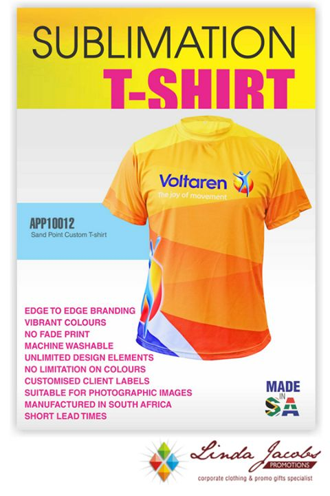 Custom Sublimation T-shirts👕  *MINIMUM QUANTITY 50 UNITS  Features: Round neck | Polyester birdseye- Moisture management fabric |145gsm | Half chest (mm) standard fit | Unisex design For more info -...  See more products on our website - http://www.lindajacobspromotions.co.za/  Email: linda@lindajacobspromotions.co.za  Call us - 083 6280181 | 021 557 2152 #lindajacobspromotions See more