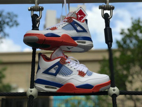 timeless design 17d90 8f071 2018 New Air Jordan 4 Custom Knicks White Royal Blue Orange 308497-171-3