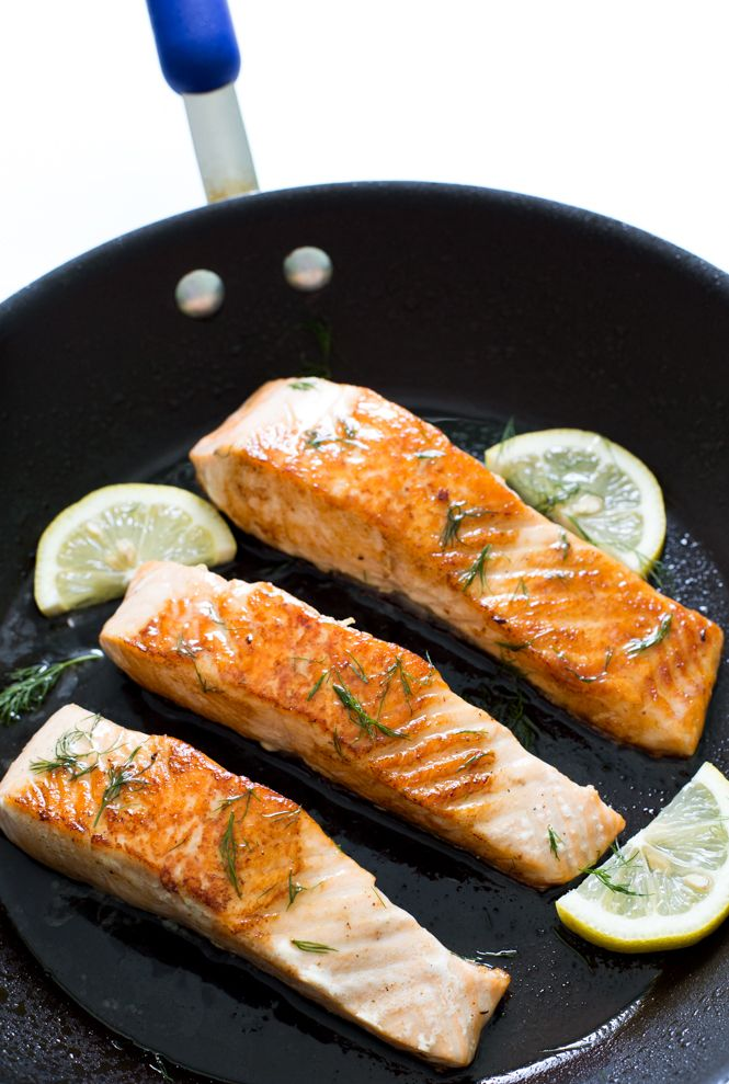 Super Easy Pan Fried Salmon with Lemon Dill Butter. Takes 20 minutes to make and only requires 5 ingredients!