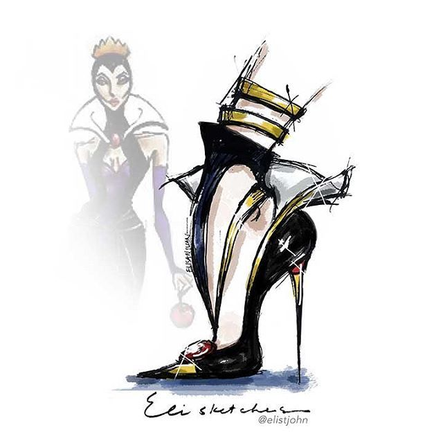"Here it is!!! .... ""The original mean girls""  Collection ✨ Rrrrrrrr! .... First off - THE EVIL QUEEN -  #elisketches ..... #fashion #fashionsketch #disney #disneyvillains #disneyprincess #disneyprincess #fashionillustrator #fashionillustrator #fashionart #fashionph #fashionista #fashionblog #fashionblogger #fashiondesign #shoedesign #heels #blackheels #snowwhite #evilqueen #onceuponatime #louboutin #manolo #creative #disneyland #disneyworld"