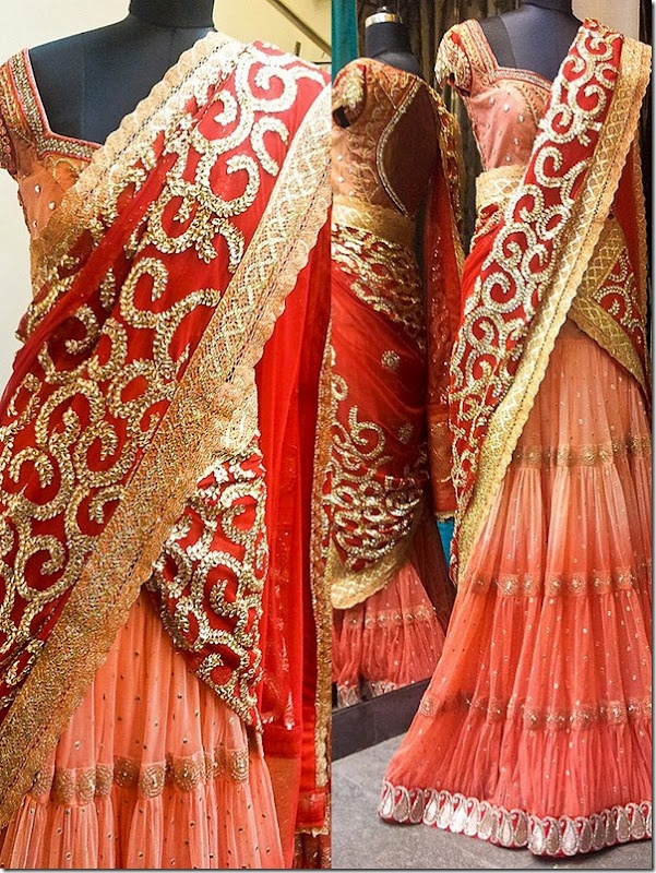 Indian Jewellery and Clothing: Latest designs of langa ooni/lehengas/half sarees from Bhargavi kunam..