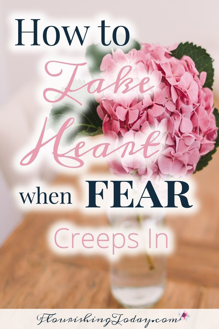 What fears are you battling? Aren't sure how to conquer them? Here's 6 ways to Take Heart when Fear Creeps In. Grab your free Printable! #freeprintable #fear #anxiety #fearless #freedom