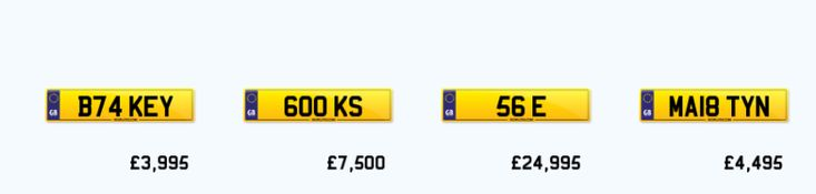 Find a List of the Personalized Number Plates Available on Sale