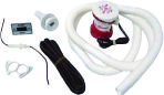 """Помпа T-500 с комплектом для подключения (4614)  Полный комплект для подключения помпы с выходным патрубком диаметром 3/4"""". В комплект входит электрическая трюмная помпа модели T-500, водяной шланг, хомуты и переходной фитинг для крепления шланга к борту судна, а также кнопка включения/выключения и электрический кабель, длиной 6 метров."""