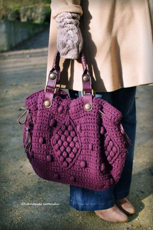 purple knitted bag