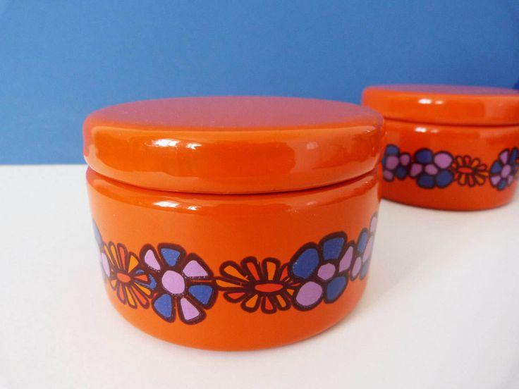 1970s enamel sugar pot storage jar by planetutopia on Etsy