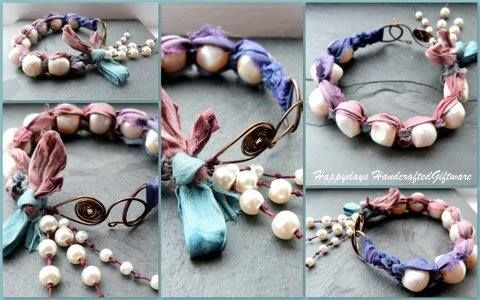 I have to admit to being rather bowled over when I first saw this stunner by Sharon, she has used Smitten rustic pearls and sari silk to create this fabulous bracelet.