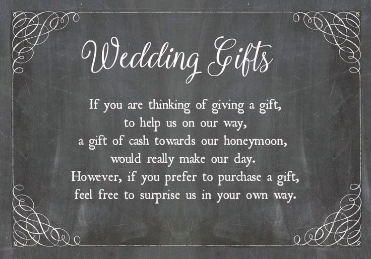 Chalkboard Personalised Wedding Gift Wish Poem Money Card