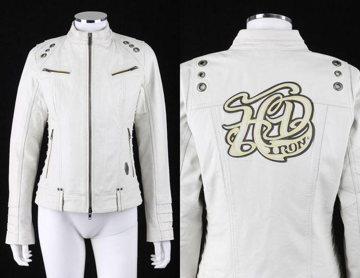 """HARLEY DAVIDSON """"Magnolia"""" Winter White Leather Motorcycle Riding Jacket Coat M #HarleyDavidson #BasicJacket"""