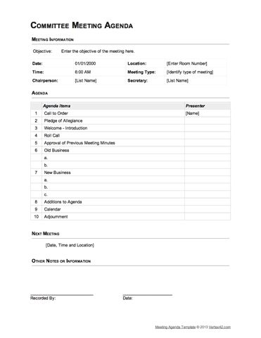 Best 25+ Meeting agenda template ideas on Pinterest Team meeting - professional meeting agenda template