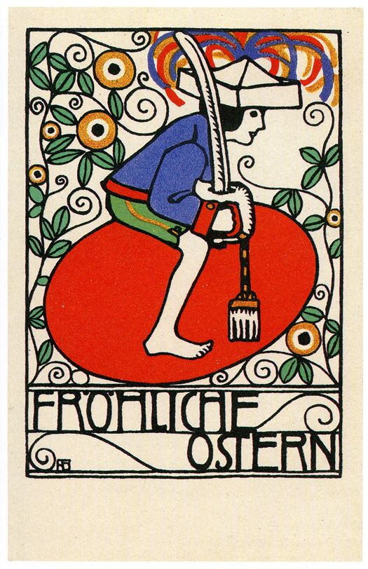 "Postcards of the Wiener Werkstätte: Fritz Zeymer, postcard 151. Scan from the squat 1980s Austrian Book ""Mail Art Anno Klimt""."