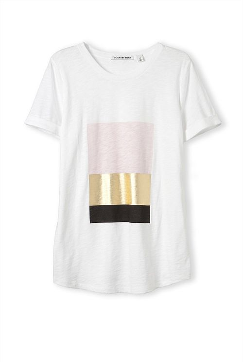 Foil Print T-Shirt. Love this for the simple blocks of matt colour next to the foil.