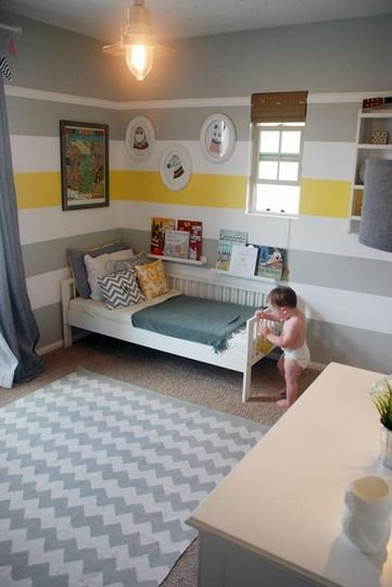 Ben's Room with a accent wall and bright stripe? grey white and yellow stripe wall toddler bedroom