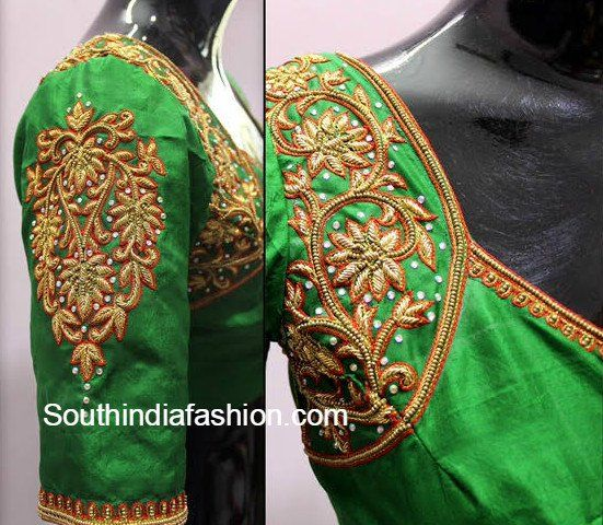 pattu saree blouse green photo