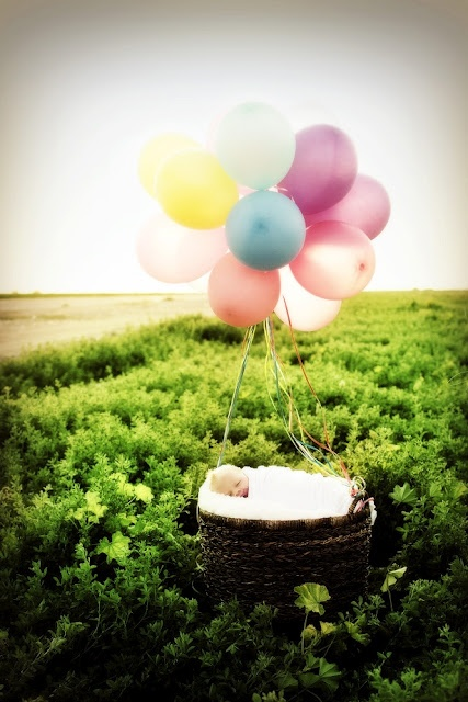 Darling baby shoot.  I love the balloons and I think a banner hanging over the front with the baby's name would just finish it!  <3 it!: Photo Ideas, Family Photography, Child Photography, 99 Balloons, Baby Photography, Photography Baby