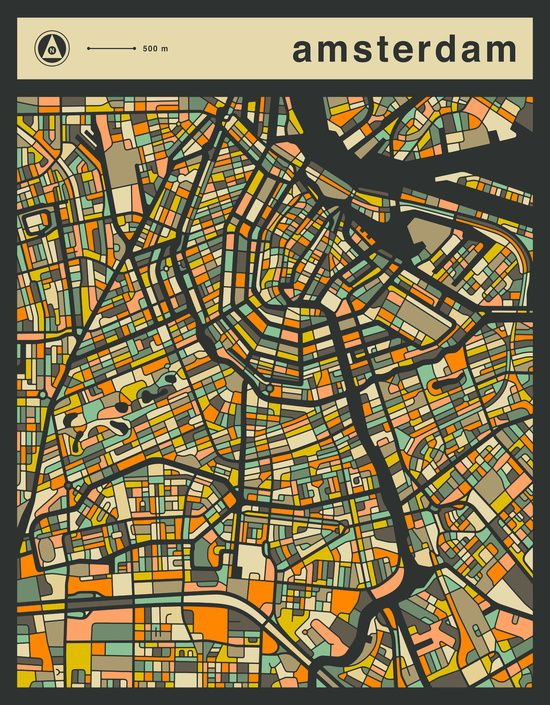 Poster | AMSTERDAM MAP von Jazzberry Blue | more posters at http://moreposter.de