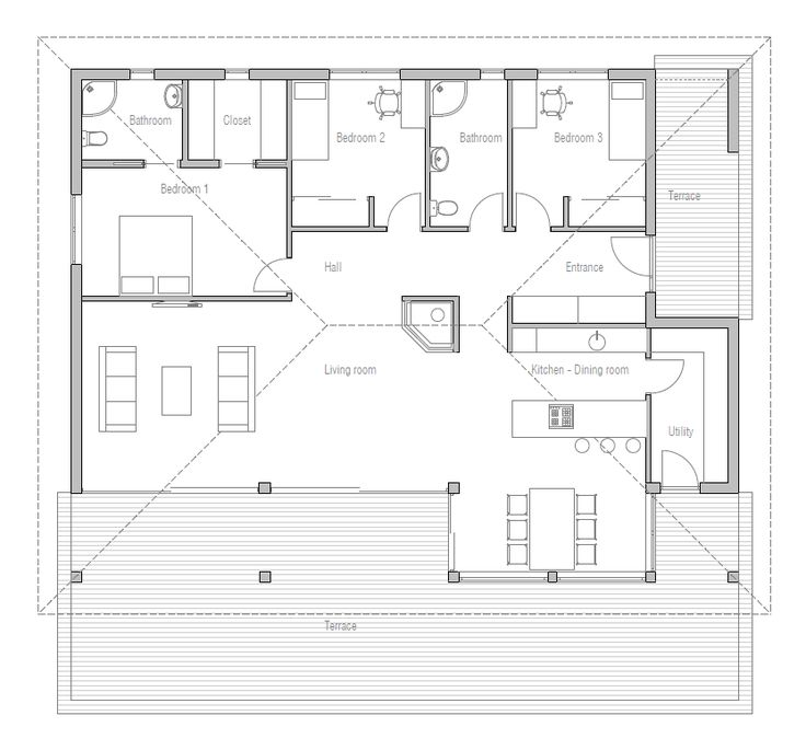 Simple U0026 Affordable Small House Plan With Open Plan And Three Bedrooms.