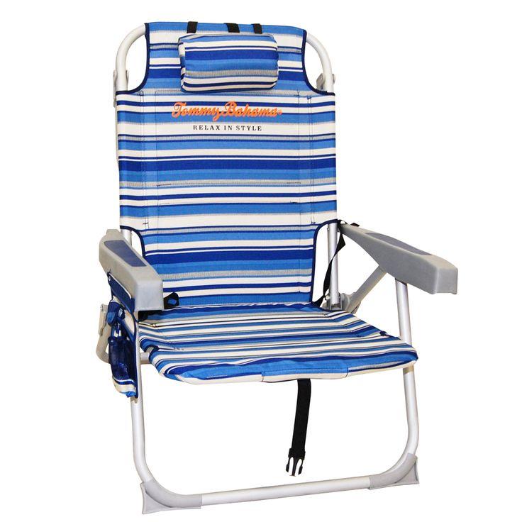 Tommy Bahama Backpack Cooler Beach Chair- Cocktail Stripe | Layflat Beach Chairs @ BeachStore.com