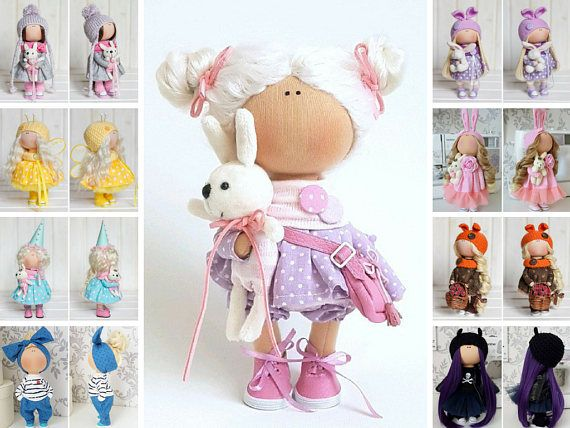 Soft Doll Nursery Doll Textile Doll Tilda Doll Handmade Doll Muñecas Pink Doll Interior Doll Cloth Poupée Fabric Doll Bambole by Tanya E __________________________________________________________________________________________  Hello, dear visitors!  This is handmade soft doll created by Master Tanya E. (Moscow, Russia).  All dolls on the photo are mady by artist Tanya E. You can find them in our shop searching by artist name. Here are all dolls of artist Tanya E: https://www.etsy....