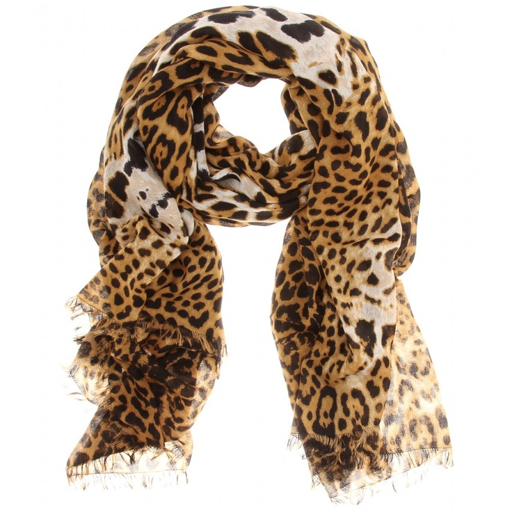 LEOPARD PRINT WOOL-CASHMERE SCARF - Yves Saint Laurent   Scarves ...