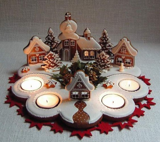 Gingerbread town with candles