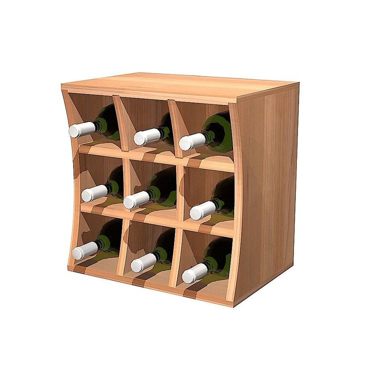 Wine Cellar Innovations Concave Curvy Wine Cube Rustic Pine Wood Wine Holder (unstained), Brown