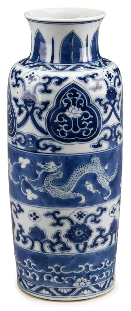 Chinese blue and white porcelain sleeve vase Kangxi period. Vase of typical cylindrical form with an everted rim, decorated in alternating decorative bands featuring dragons, floral scrolls and lingzhi palmettes. H: 11 1/4 in.