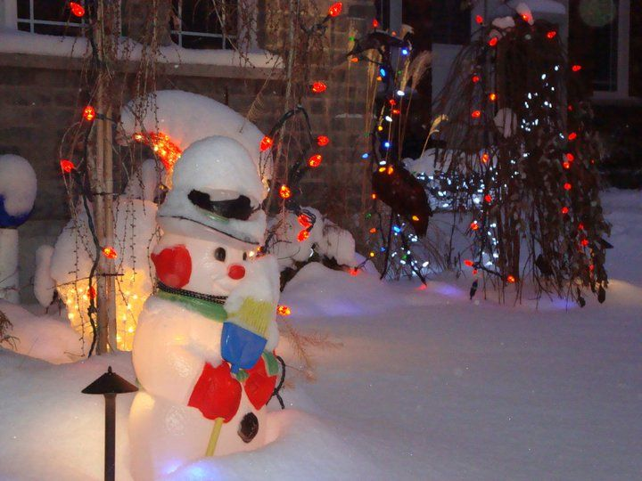 Snowman and lights