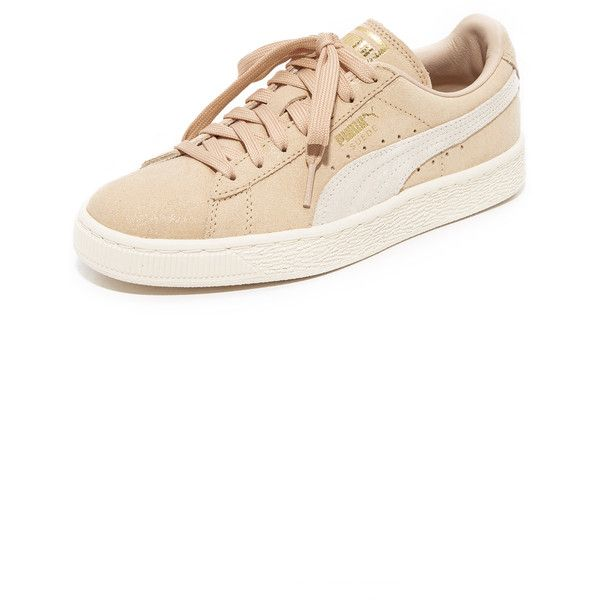 PUMA Suede Classic Shine Sneakers ($76) ❤ liked on Polyvore featuring shoes, sneakers, suede trainers, puma sneakers, shiny shoes, lace up shoes and lacing sneakers