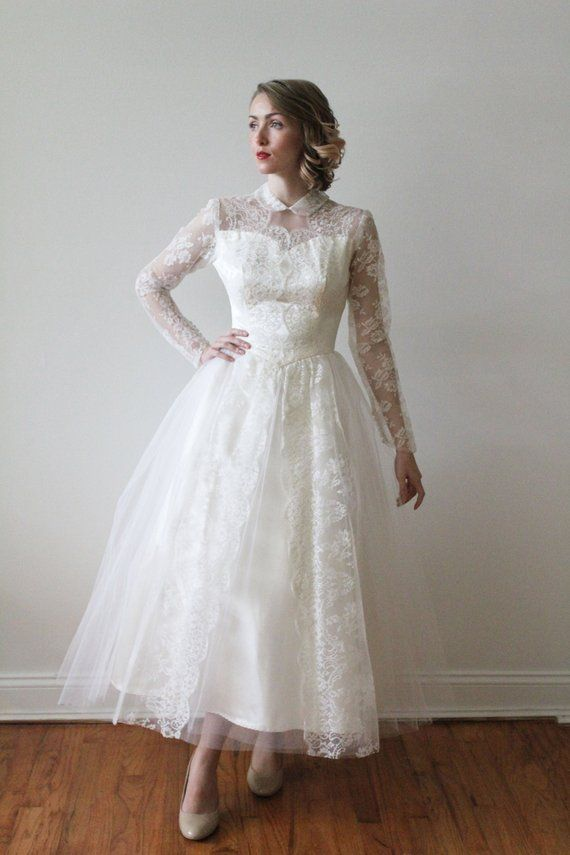 394a0d4c4bf Vintage 1950s Peter Pan Collared Long Sleeved Lace and Tulle Tea Length  Wedding Dress