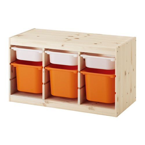IKEA - TROFAST, Storage combination with boxes, pine white/orange, , A playful and sturdy storage series for storing and organizing toys, sitting, playing, and relaxing.The frame has several grooves, so you can place boxes and shelves where you want them, and change them any time.Low storage makes it easier for children to reach and organize their things.