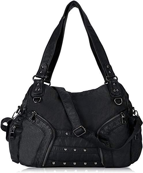 fc3bfd66bc Amazon.com  Women Soft Leather Handbag Large Capacity Crossbody Shoulder Bag  for Ladies Convertible Hobo Purse Black  Shoes