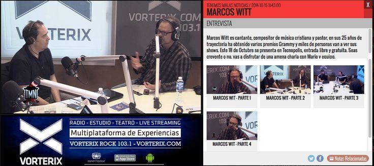 No te pierdas la interesante entrevista que hizo Mario Pergolini a Marcos Witt hoy enVorterix Rock 103.1, de #BuenosAires. ➜ http://www.vorterix.com/tenemos_malas_noticias/11054/marcos_witt