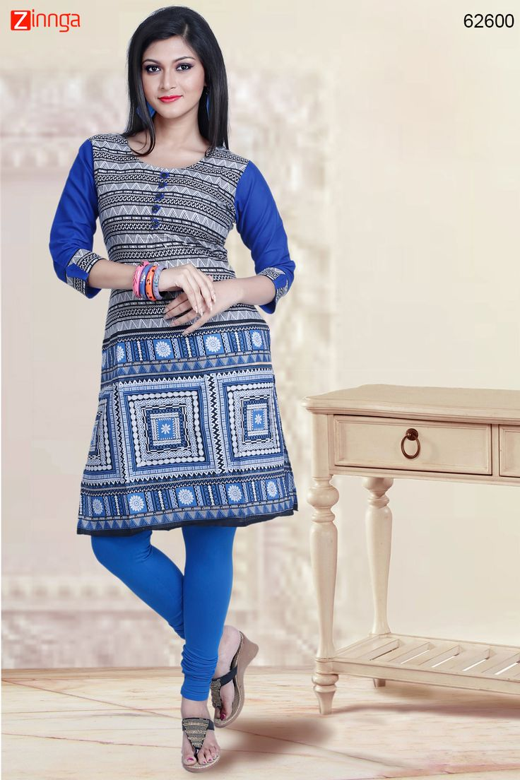 Black & Blue Color with Printed & Lace Work Incredible Readymade Kurti. Message/call/WhatsApp at +91-9246261661