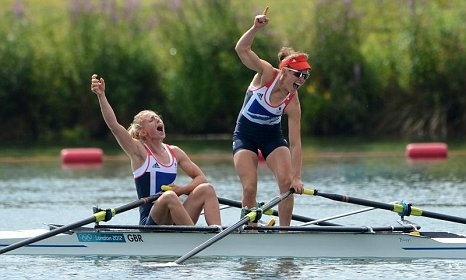 Sophie Hosking and Katherine Copeland celebrate their gold medal in the women's lightweight double sculls -day 8