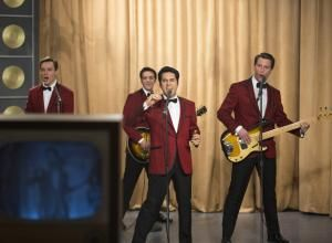"(L-r) ERICH BERGEN as Bob Gaudio, VINCENT PIAZZA as Tommy DeVito, JOHN LLOYD YOUNG as Frankie Valli and MICHAEL LOMENDA as Nick Massi in Warner Bros. Pictures' musical ""JERSEY BOYS,"" a Warner Bros. Pictures release."