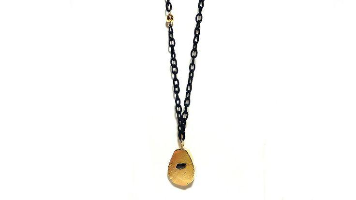 Black silk chain & gold agate!