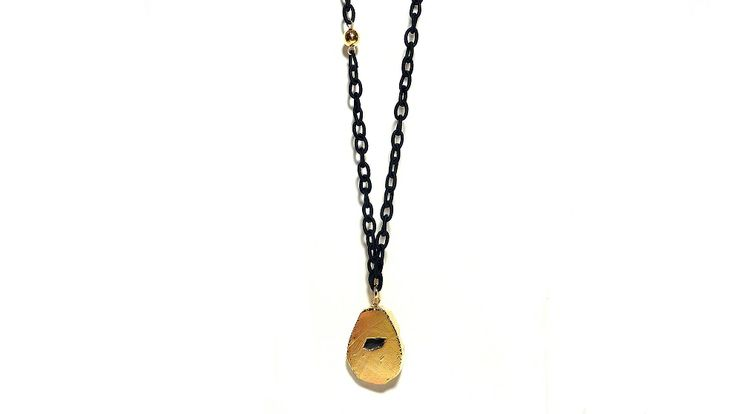 Black silk chain & gold agate!