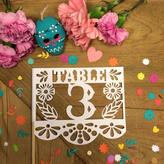 Papel Picado Table Numbers, Mexican Fiesta, Wedding, Banderas, Mexican Flags, Set of 12