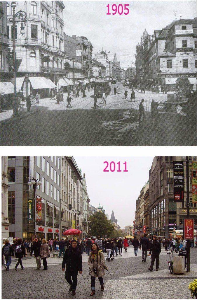 Pohled na Můstek od ulice 28. října do ulice Na Příkopě. Vpravo je dům U Špinků. Dnes na jeho místě stojí palác Koruna.