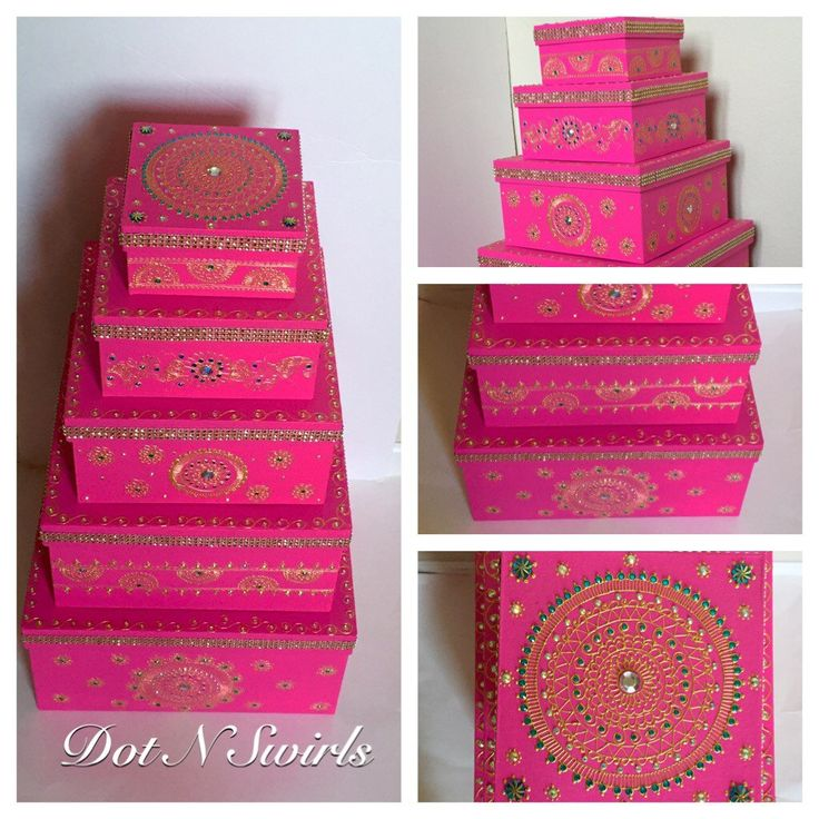 Set of 5 henna decorated card board boxes/ wedding by dotnswirls