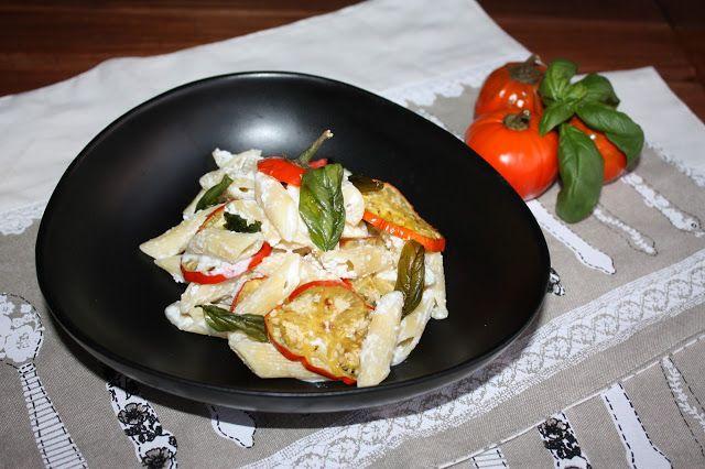 Frittomisto: cucina ed emozioni: Penne con melanzane rosse, ricotta e basilico frit...
