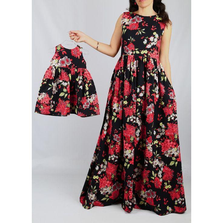 İkili takım Hotice Anne Kız Çiçekli Uzun Elbise, anneye alınabilecek hediyeler