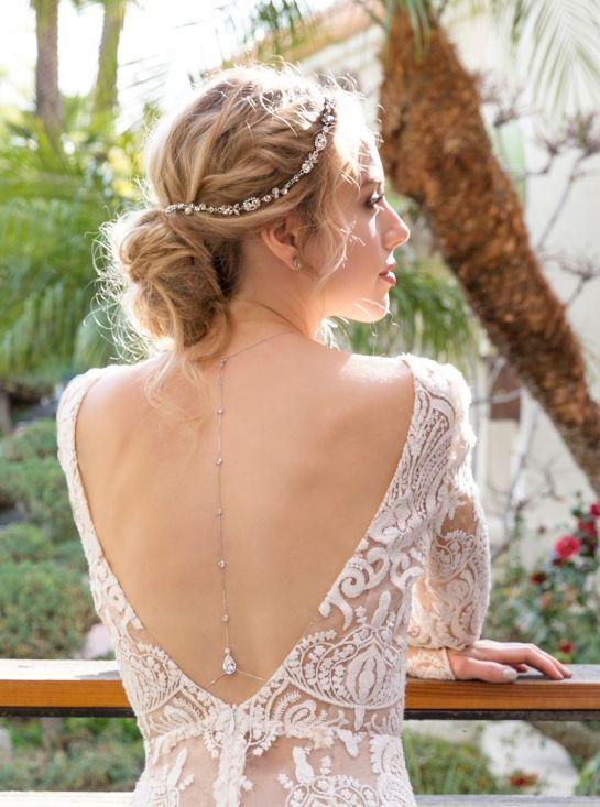 Silver Bridal Back Necklace, Wedding Back Jewelry, Bridal Necklace, Wedding Accessories, Body Necklace, Bohemian Wedding