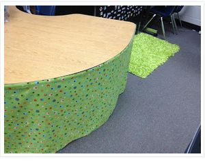 Classroom DIY: Kidney Table Skirt... So simple to make!!! Using Velcro!