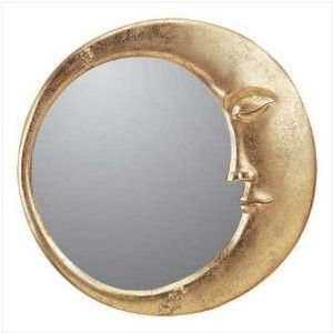 gold celestial decor | Gold Finish Celestial Moon Face Wall Mirror Home Decor - Polyvore